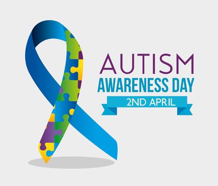 ribbon puzzles and ribbon to autism day vector illustration Ilustracje wektorowe