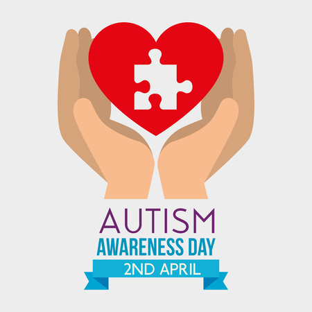 hand with heart and puzzle inside to autism day vector illustration Illustration