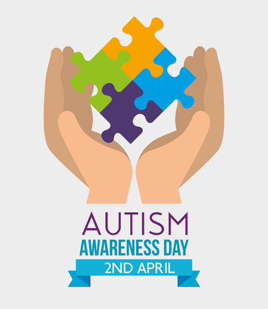 hands with puzzles to autism awareness day vector illustration Standard-Bild - 119167172