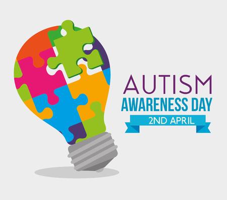 lamp idee puzzels tot autisme dag vectorillustratie