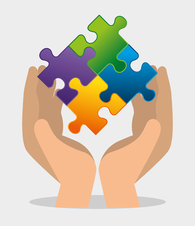 hand with puzzles to autism awareness day vector illustration