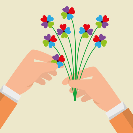 man hands with flowers plants and petals vector illustration