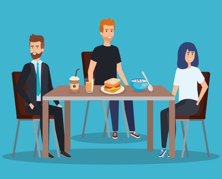 people eating sandwich with coffee and cereal vector illustration Illustration
