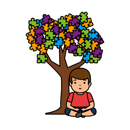 boy with tree puzzle attached vector illustration design Foto de archivo - 119167218