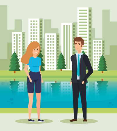 woman and man talking near to river and buildings vector illustration Standard-Bild - 119175904
