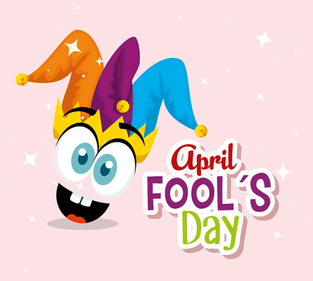 funny face with joker hat to fools day vector illustration Vector Illustratie