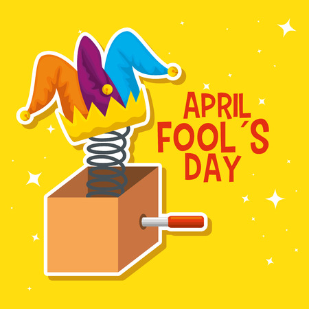 box with funny joker hat to fools day vector illustration