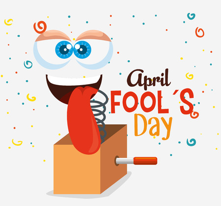 funny face with tongue to fools day celebration vector illustration Illustration