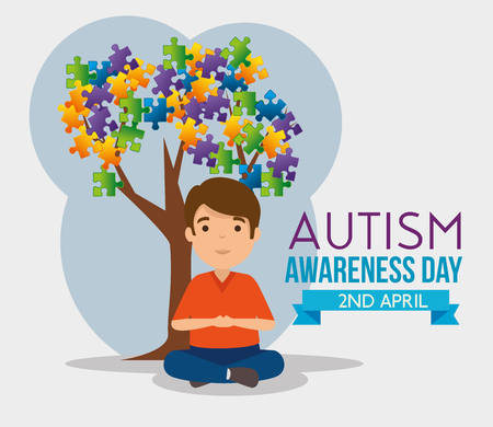 kid and tree with puzzles leaves to autism day vector illustration Vector Illustration