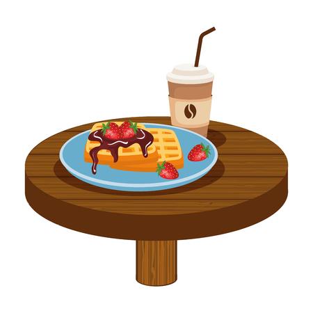 delicious breakfast in wooden table vector illustration design