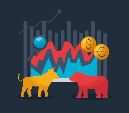 bull bear diagram exchange financial stock market vector illustration  イラスト・ベクター素材