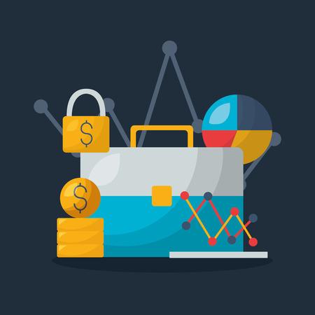 Portefeuille d'affaires diagramme d'argent marché boursier illustration vectorielle Vecteurs