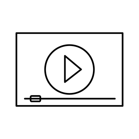 screen cinema movie outline on white background vector illustration