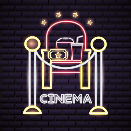 chair popcorn soda ticket cinema movie time neon vector illustration