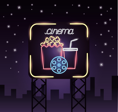 billboard city cinema movie time neon vector illustration Stock Illustratie