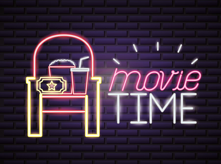 seat popcorn and soda movie time neon vector illustration