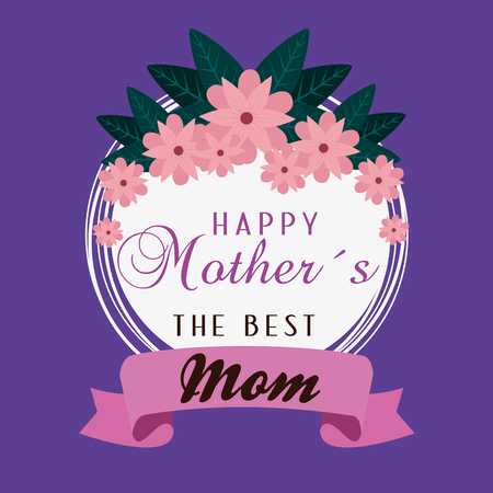 card with flowers and ribbon to mothers day vector illustration