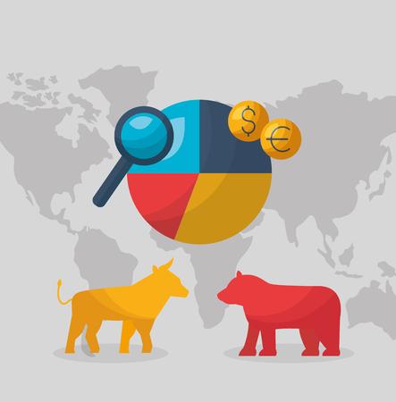 illustrazione vettoriale del mercato azionario finanziario dei soldi del grafico del mondo dell'orso toro