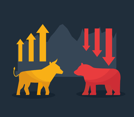 bull bear upward and downward trend stock market vector illustration