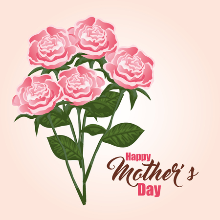 exotic roses plants with leaves to mothers day vector illustration