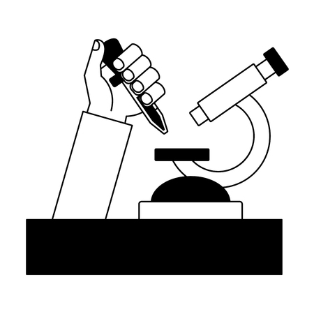 science hand with pipette microscope sample vector illustration