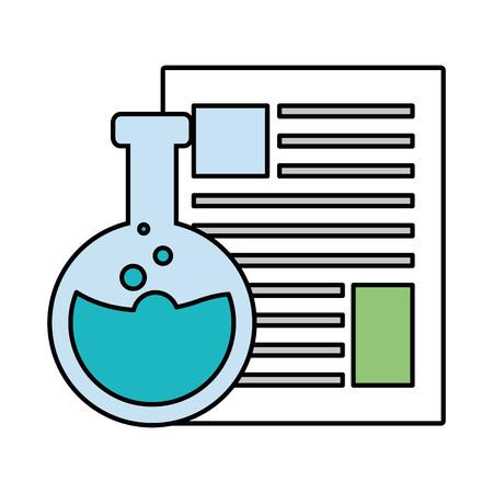 science laboratory flask paper chemistry vector illustration