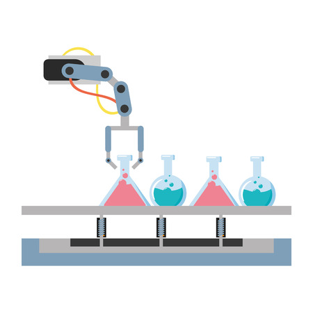 science laboratory robot arm flasks vector illustration