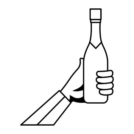 hand with champagne bottle vector illustration design