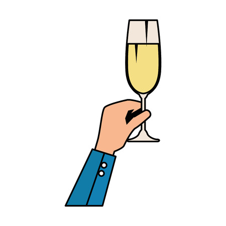 hand lifting champagne cup vector illustration design