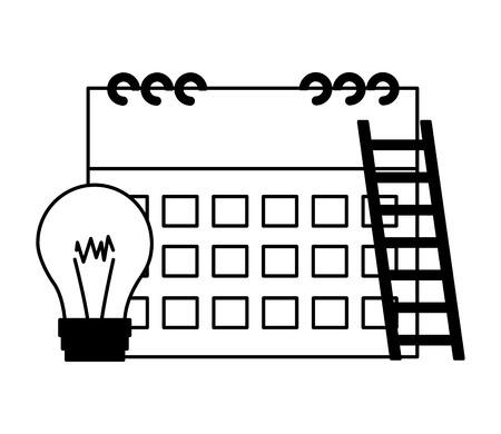 business calendar bulb stairs white background Standard-Bild - 119188216
