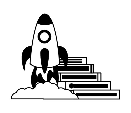 books stacked rocket launching startup vector illustration