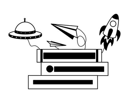 libro aperto mongolfiera aereo di carta illustrazione vettoriale Vettoriali