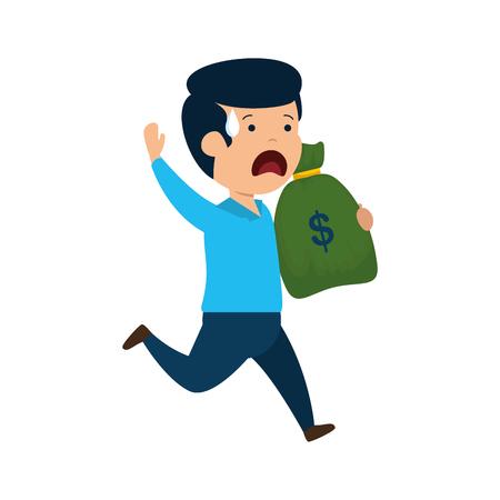depressed man for money with money bag vector illustration design