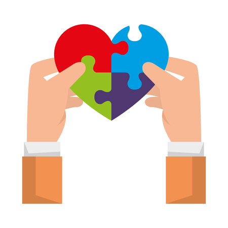 hands lifting heart with puzzle attached solution vector illustration design Foto de archivo - 119188498