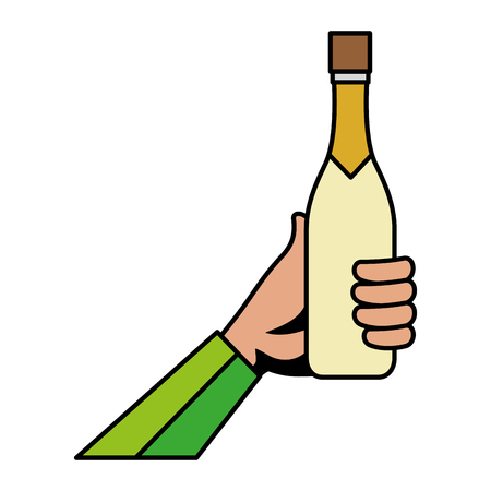 hand with champagne bottle vector illustration design