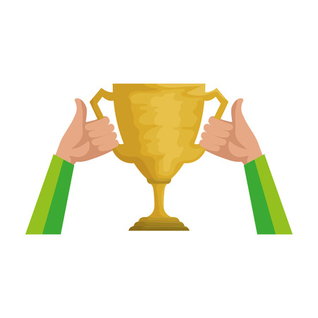 hands lifting trophy cup award vector illustration design