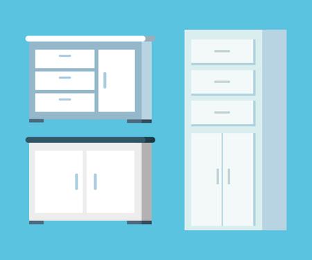 set wood shelf equipment in the office vector illustration  イラスト・ベクター素材
