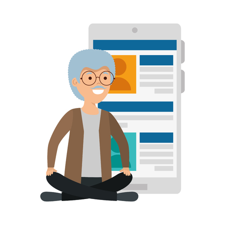 old man in lotus position with smartphone vector illustration design Çizim