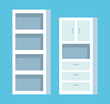 set wood shelf structure in the office vector illustration