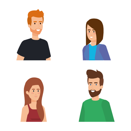 set pretty women and attractive men with hairstyle vector illustration