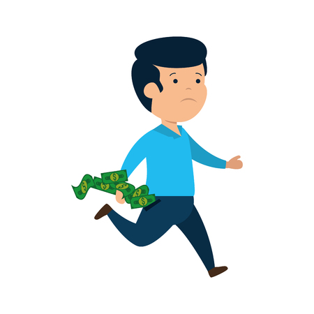 depressed man for money with bills dollars vector illustration design Ilustração