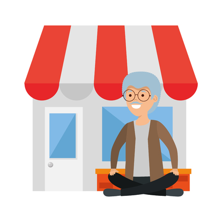 old man in lotus position with store building vector illustration design