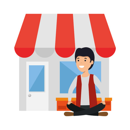 young man in lotus position with store building vector illustration design
