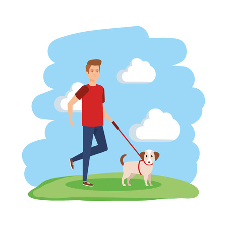 young man walking with dog vector illustration design Illustration
