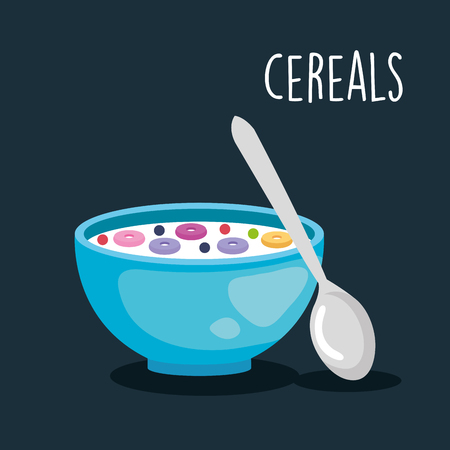 delicious cereal breakfast food with spoon vector illustration