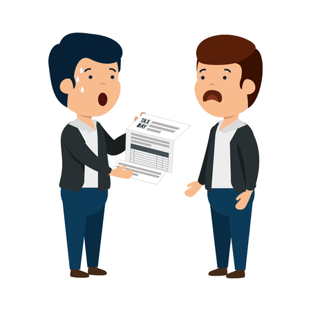 depressed men for money with tax document vector illustration design