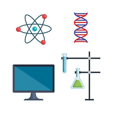 set atom with dna and flask with tubes analysis vector illustration