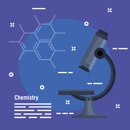 chemistry laboratory with microscope technology analysis vector illustration