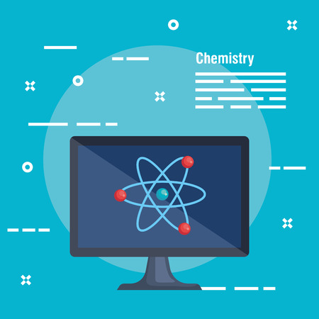computer technology with atom to chemistry analysis vector illustration