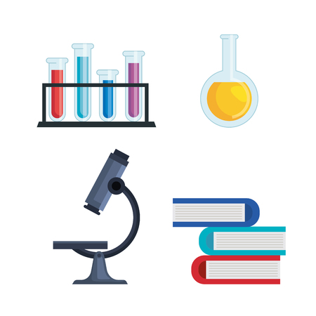 set tubes analysis and flask with books vector illustration
